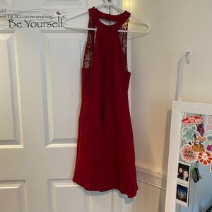 Halter red velvet dress